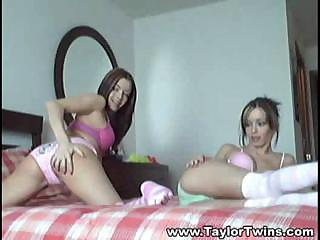 Two Hot Lesbo Twins Perform Sexual Gymnastics On Queen-size Bed