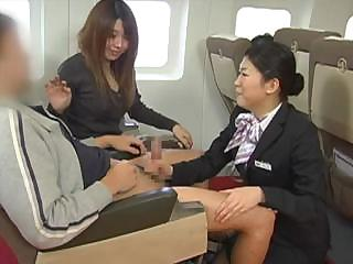 Porn Tube of Japanese Stewardess Handjob