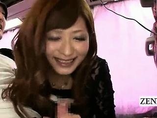subtitled busty japanese av star gives blowjob on bus