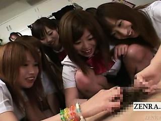 Subtitled CFNM Japanese schoolgirls group handjob party