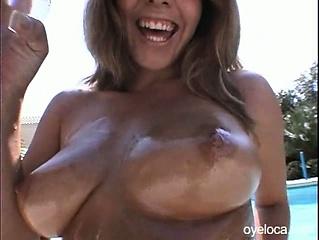 Pretty latina meets new friend at the pool