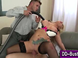Big tits slut pussy vaccuumed
