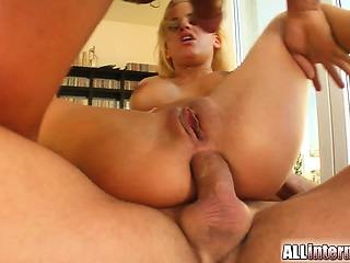 It's Brittney bitch! Three guys penetrate her horny ass and