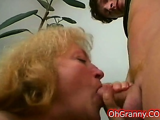 horny blonde granny does hard sucking