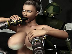 3D Animation. Robots Sex Attack
