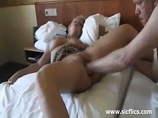 Kinky blond loves massive fisting penetrations