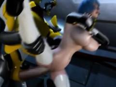 3D Giant Robot Destroys Space Girl!