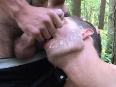 English hunk cocksucked outdoors