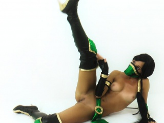 Brownie cosplaying in Mortal Kombat Jade