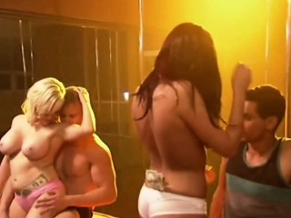 Hot striptease and lap dance in swingers reality show