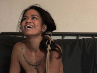 Asian sub tied up by black male dom in duo