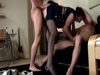 mature lady enjoys fucking two cocks