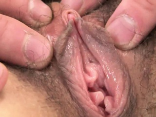Dirty skunk has two fingers in her tight pussy