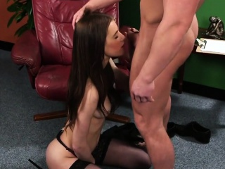 unusual babe gets cumshot on her face swallowing all the cha