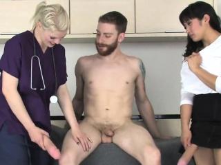 Girls drill guys anal with big strapon dildos and blast spun