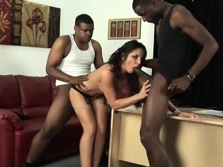 Black dudes impale a white slut