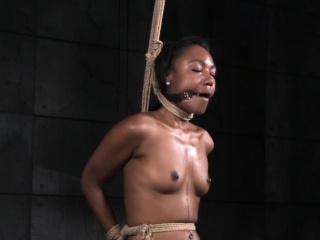 Ebony sub whipped in strappado bondage pose