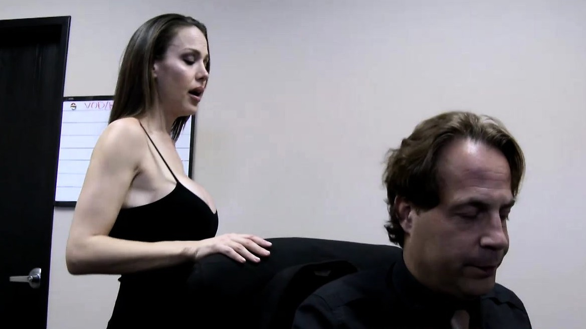 A Beautiful Brunette Of Myths Blowing A Fat Cock In The Office