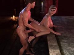3D Big Tits Blonde enjoys big dick sucking with facial - 3D