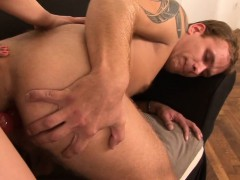 Angie Emerald uses a strapon on him