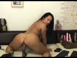 latina milf rides dildo