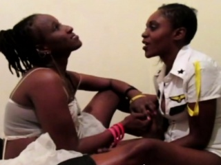 black sluts engage in some hot lesbian action