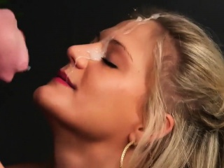 foxy model gets cumshot on her face sucking all the ejaculat