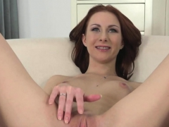 Redhead casting stunner cocksucks agent POV