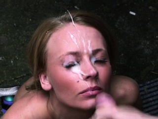 nasty stunner gets cumshot on her face swallowing all39ext