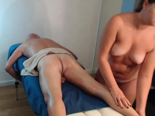 hot brunette amateur rubbed down on massage table