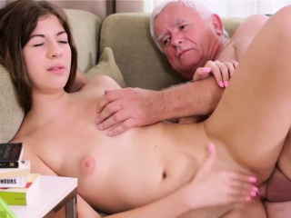 sweet young sweetie is fascinated to ride old hard rod