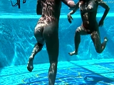 Jessica and Lindsay naked swimming in the pool