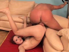 Playsome gal Alicia bends over for rear fuck