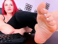 POV footjob. Webcam feet play.