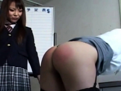 Asian Schoolgirl Paddle Spanks Naughty Teacher