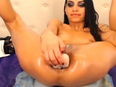 Skinny Cockslut Enjoys To Get A Ginormous Condom Pipe In The Ass