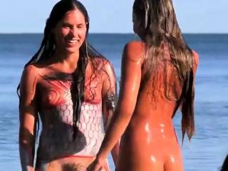 Perfect Teens Likes Body Paint In Nude Beach Voyeur