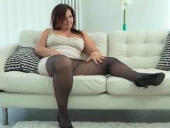 Curvy milf Montse Swinger from Spain sits on dildo