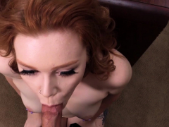 Redhead creamed by big cock in casting