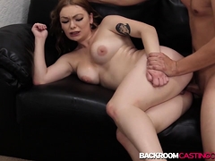Busty first timer Kaitlyn ass fucked and creampied
