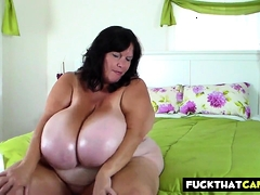 Bbw Cougar Greases Her Ample Tits