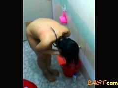 Malay girl showering