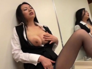 Japanese office gal provides her love tunnel to her boss