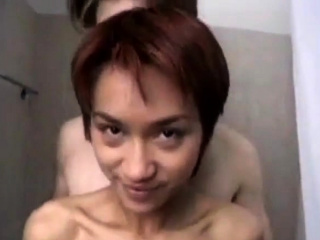 Petite asian fucked in bathroom