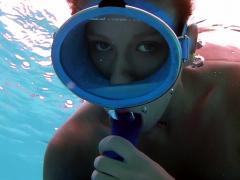 Dildo sucking underwater