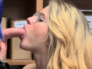 Shoplifter Taylor Blake kneels and suck LPs bigcock