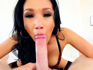 Slut pov gagging and sucking on cock