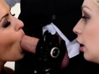 Two hot babes in latex banged in hardcore threeway