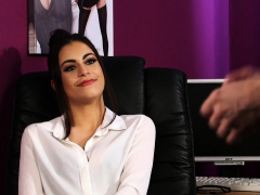 Stockinged Office Babe Sees Her Sub Wank