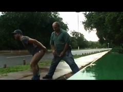 Daddy And Guy Drilling Outdoor Near Road